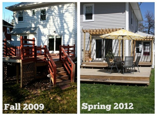 The big deck before + after.