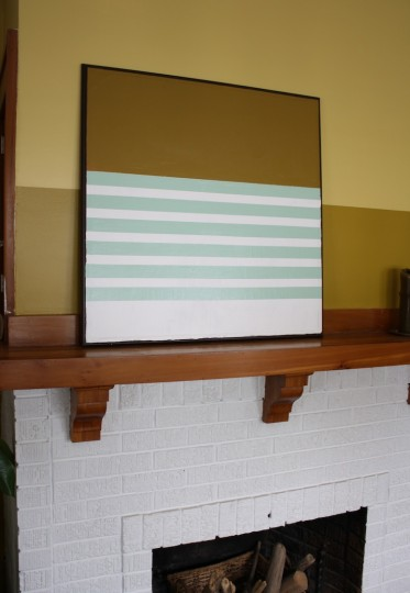 Updated canvas decoration over the fireplace. Sea foam green, not so shabby as an accent color!