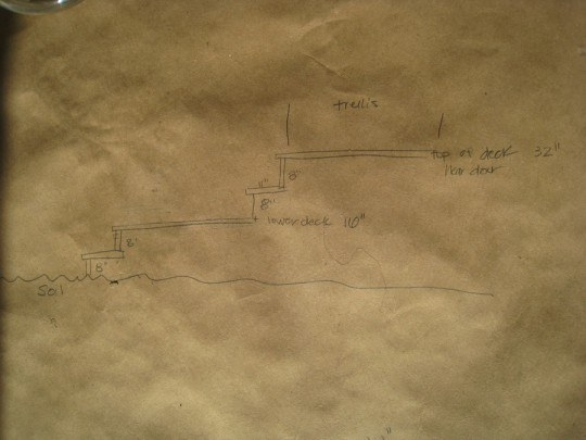 Planning deck construction on craft paper and bar napkins.