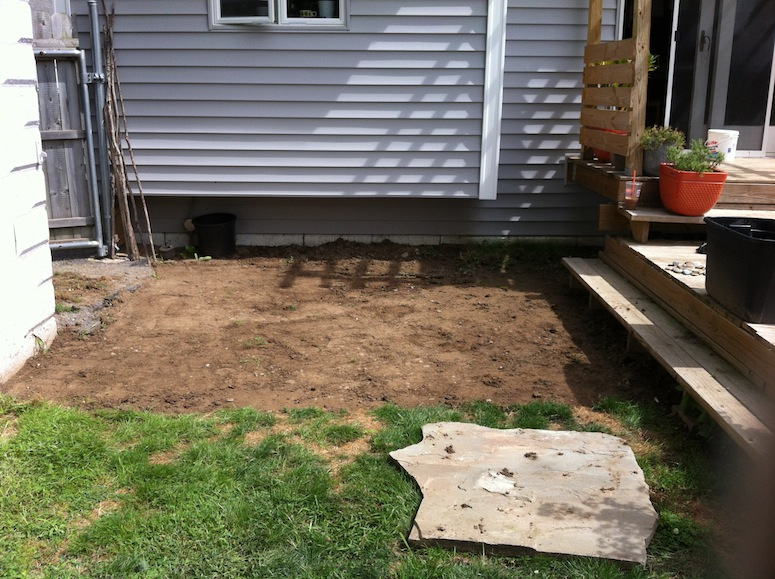 Prepping for the flagstone patio.