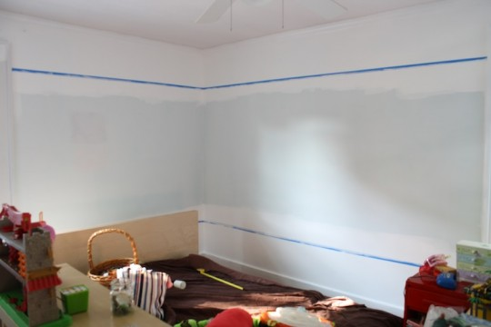 Taped and prepared the bedroom for pink paint.