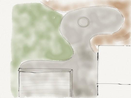 Patio designing via the Paper iPad app.