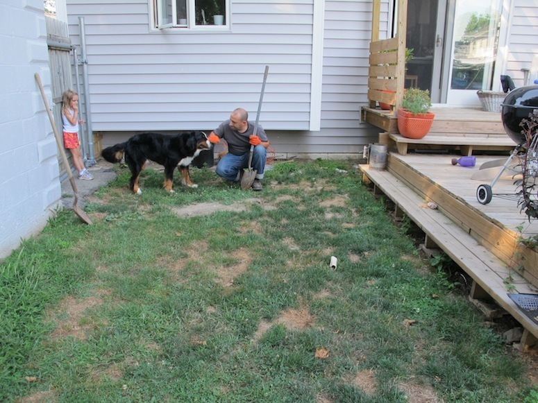 Planning for the new patio. Photo taken in early August.