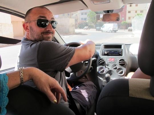 Pete, daring to drive in Casablanca, Morocco.