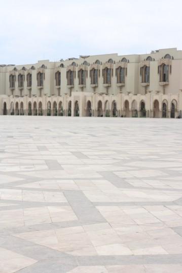 Outside the Hassan II Mosque, Casablanca, Morocco.