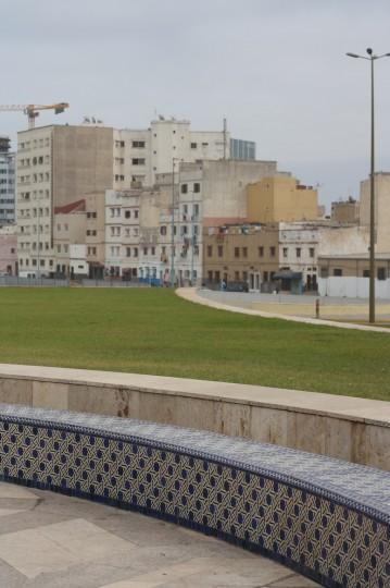 Outside Hassan II Mosque, a common neighborhood.