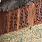 Carved cedar railings in the Hassan II Mosque, Casablanca, Morocco.