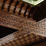 Carved cedar ceiling details at the Hassan II Mosque, Casablanca, Morocco.