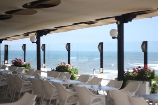 An open-air ocean front restaurant in Casablanca, Morocco.