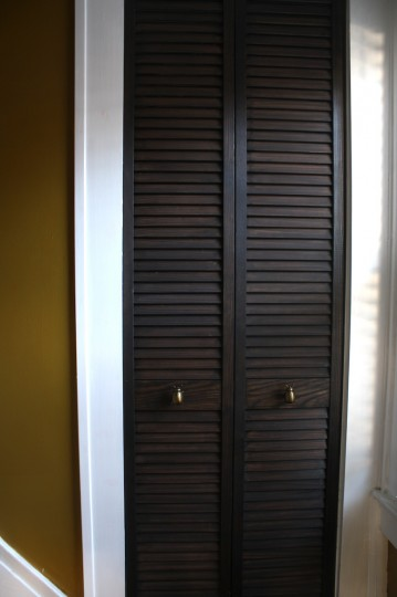Updated bifold door with beetle knobs.