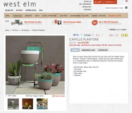 West Elm Camille Planters.