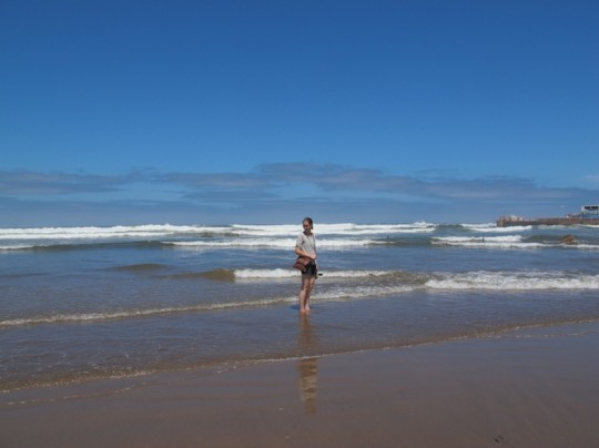 Casablanca, Morocco: Emily steps into the ocean.