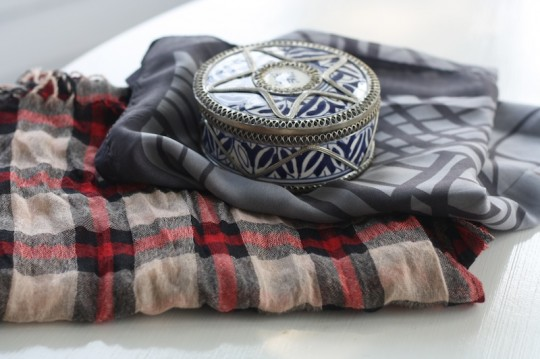 Scarves and a little treasure box souvenir from Morocco.