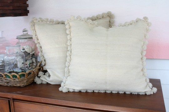 Wool pillowcases from Casablanca, Morocco.