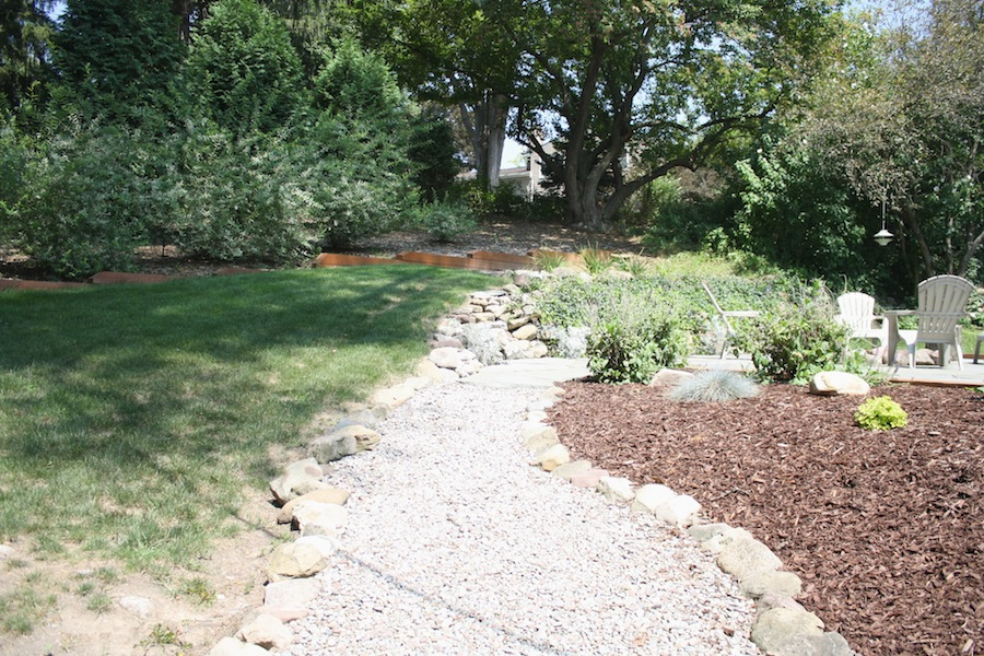 Softscaping in Donna and Pete's backyard.