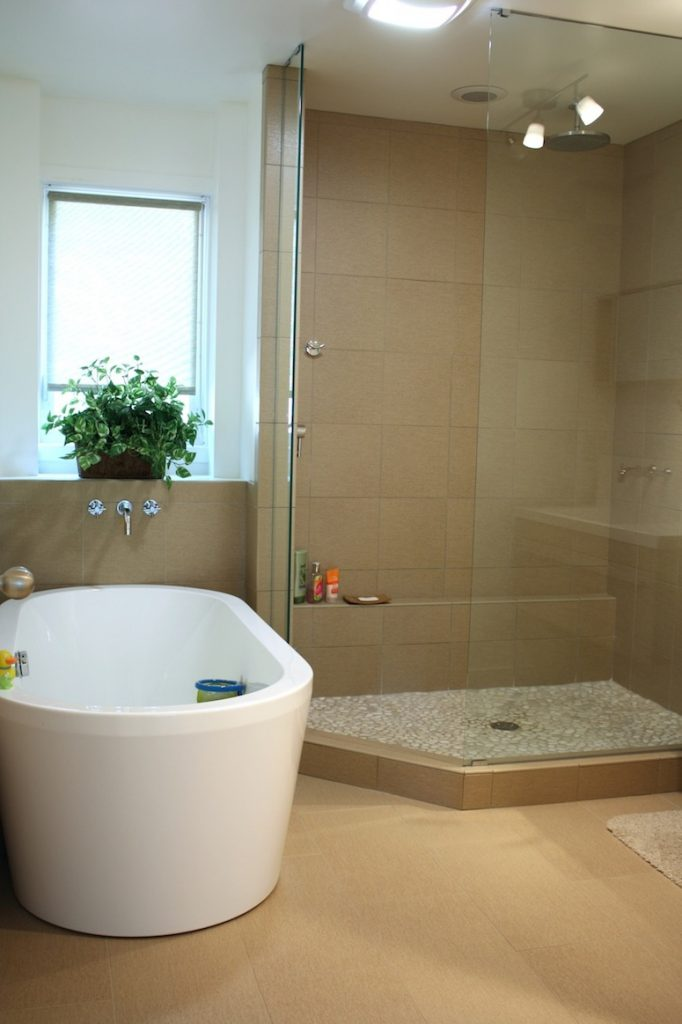 One of the beautiful bathrooms in Pete and Donna's modern home.
