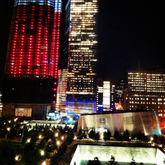 Freedom Tower and the memorial pools from the view of our room at World Center Hotel.