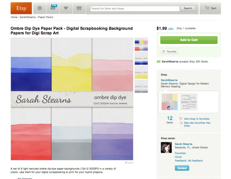 Sarah Stearns' dip dye digital paper on Etsy!