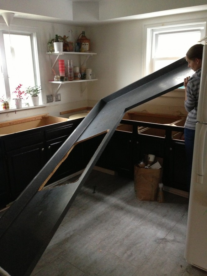 That's a big piece of laminate countertop. And right about here, we almost  got