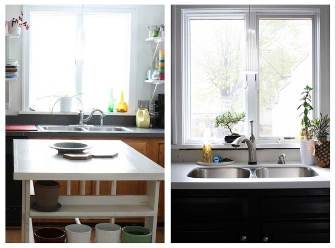 Kitchen transformation: Stained cabinets, white countertops, new Delta faucet.