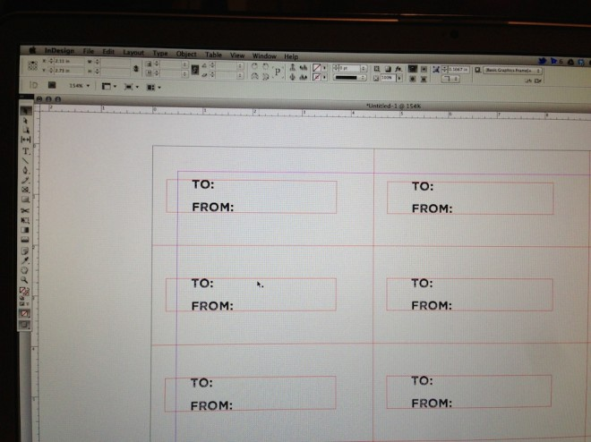 Designing and scaling my gift cards in InDesign.
