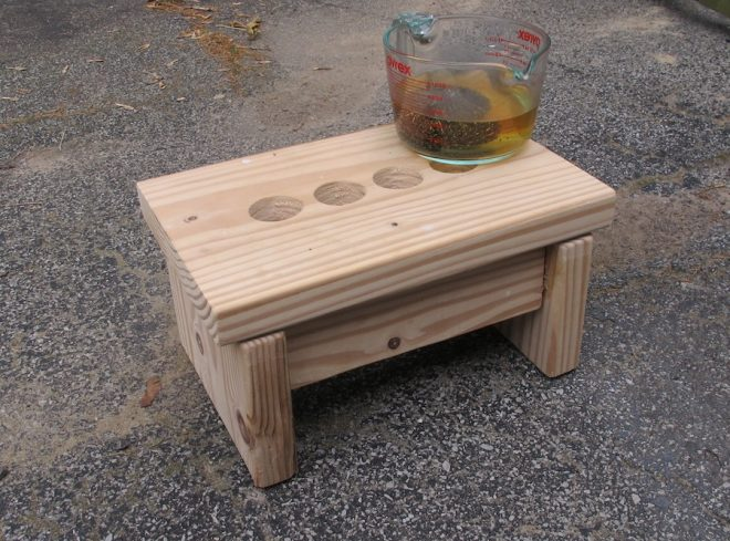 Testing out vinegar stain on a raw pine step stool.