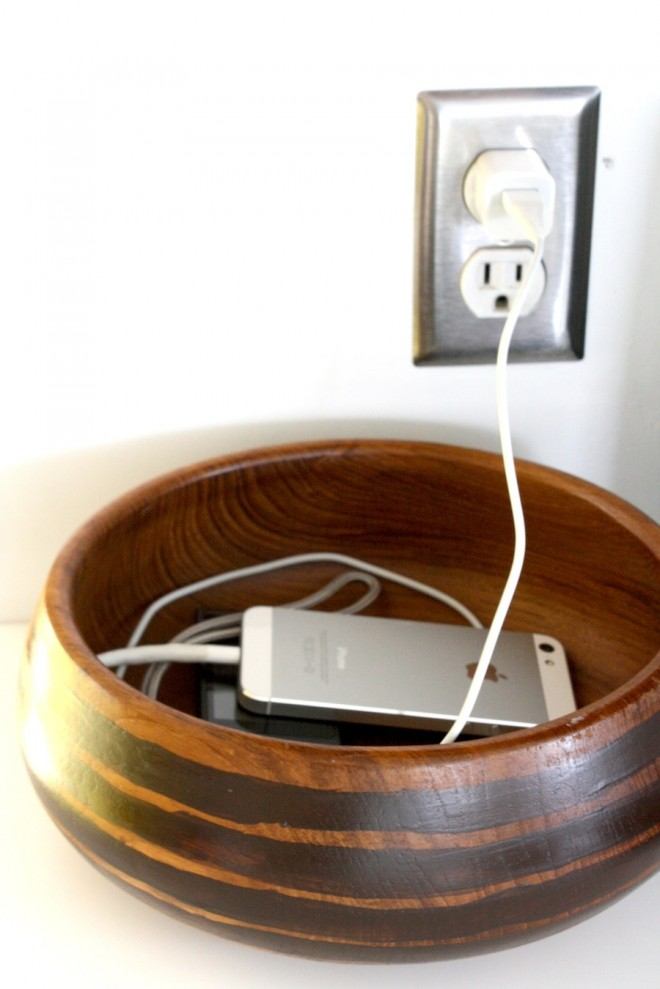 WTG teak bowl, keep on wrangling our cell phone wires like a champ.