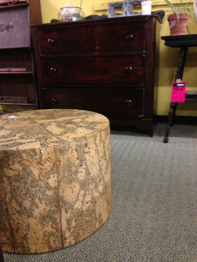 Loved this cork-ish ottoman/side table at The Shops on West Ridge.