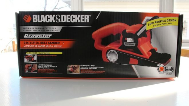 The newest toy, a Black & Decker belt sander.