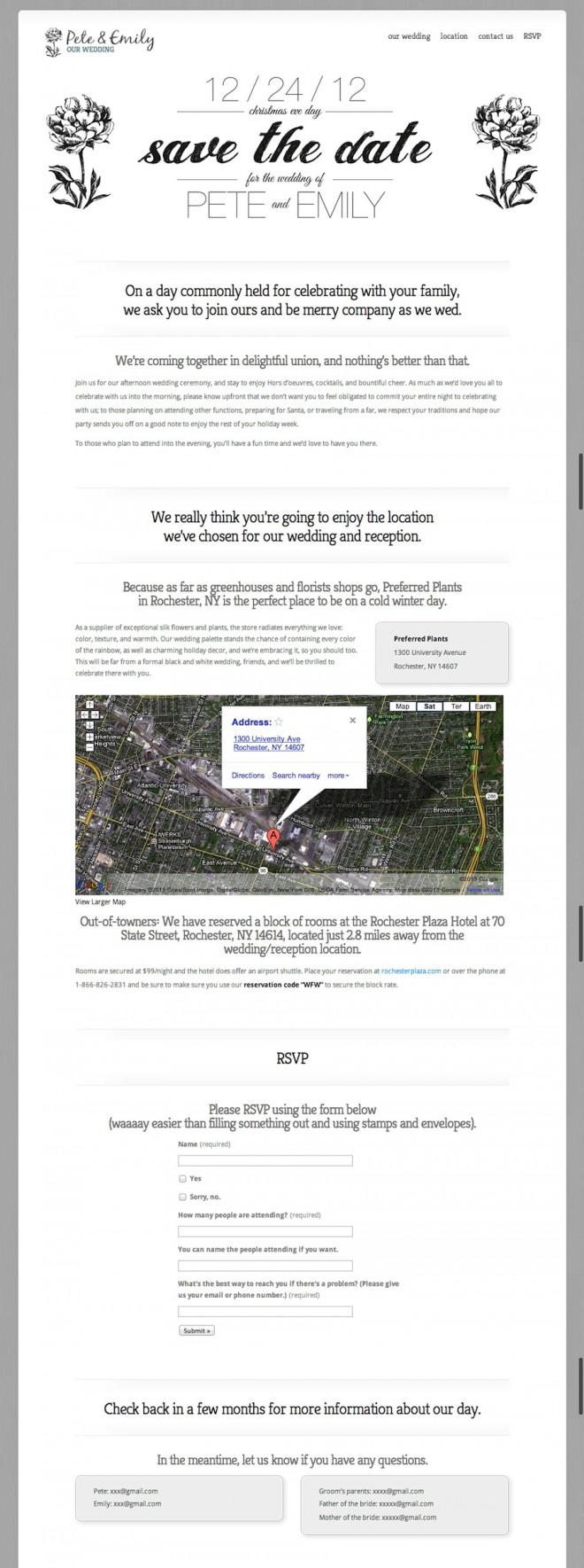 Our DIY wedding visitor website, 122412.com.