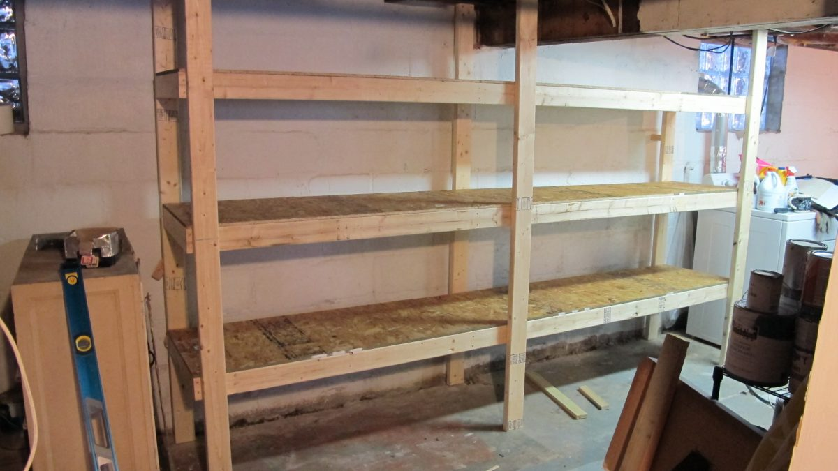 Diy basement shelves in a day merrypad for Basement storage ideas