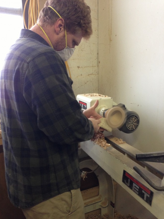 Urban Turning studio and Sam Tischler turning a bowl.