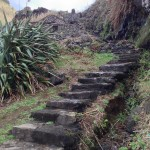 Hidden stairwell down to a black sand beach. Note the house towards the top of this picture.