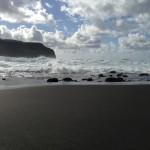Black sand beach in Mosteiros, Sao Miguel, Azores.