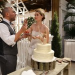 """Our winter wedding. Those faces scream """"THIS IS GREAT CAKE""""."""