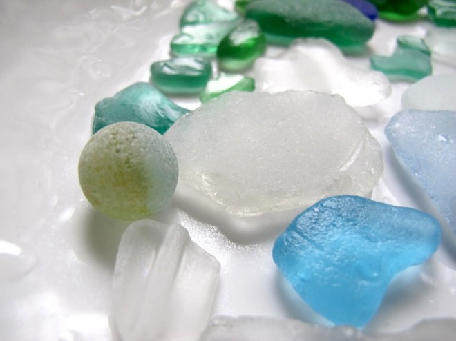 Beach glass marble found in the Azores.