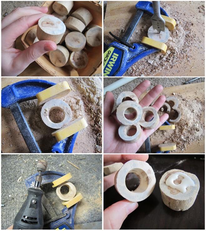 DIY candlesticks made from driftwood.