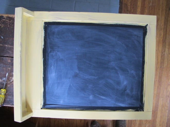 Chalkboard painting with chalk paint in Arles yellow.
