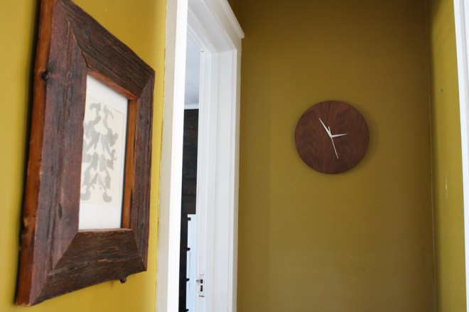 Determining where to hang our walnut clock.