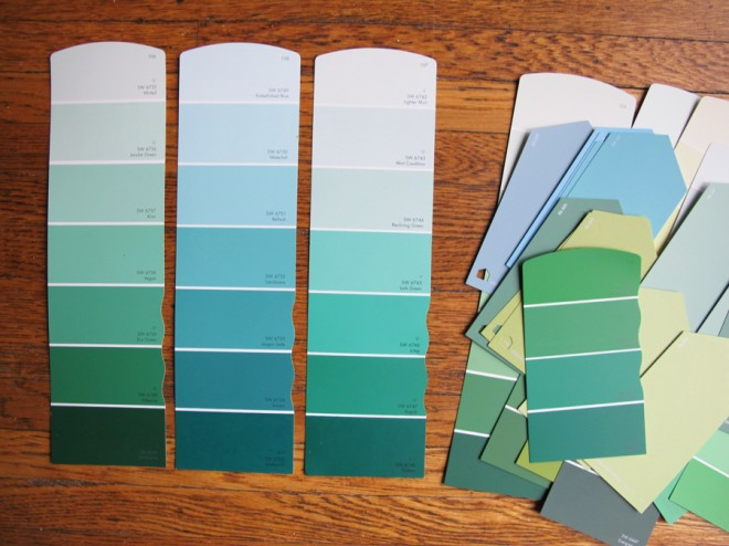 Sherwin-Williams Paint Samples for the living room. Lots of blues and greens!