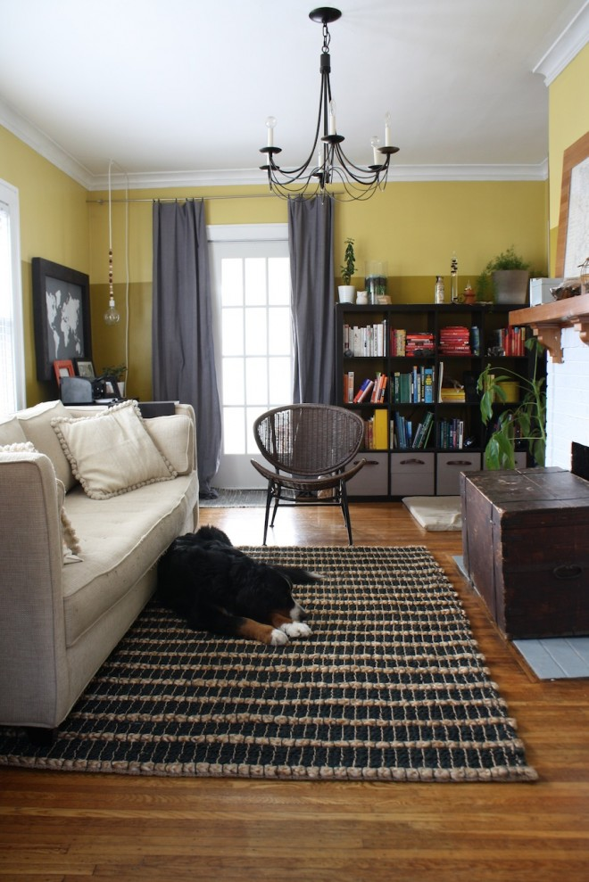 The West Elm Black Chunky Jute Rug was just a little bit too small for our living room...