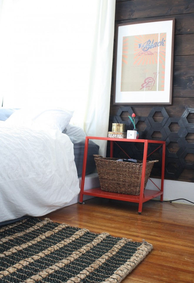 The West Elm Chunky Jute Rug at home in our bedroom.