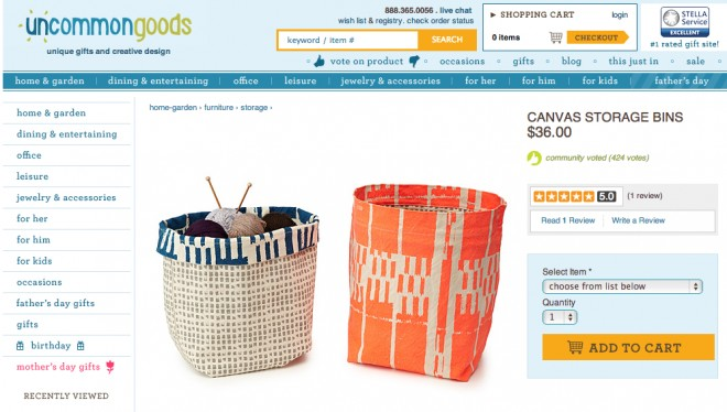 Uncommon Goods Canvas Storage Bins