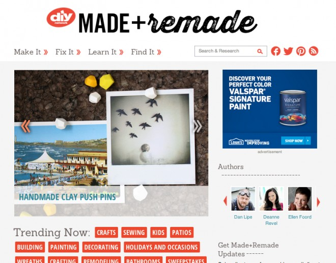 DIY Network's all-new blog Made + Remade