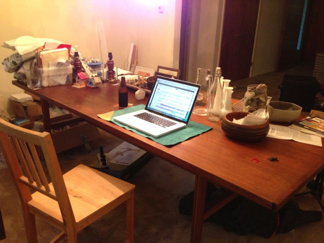Little win. Little workspace on our big, big dining room table.