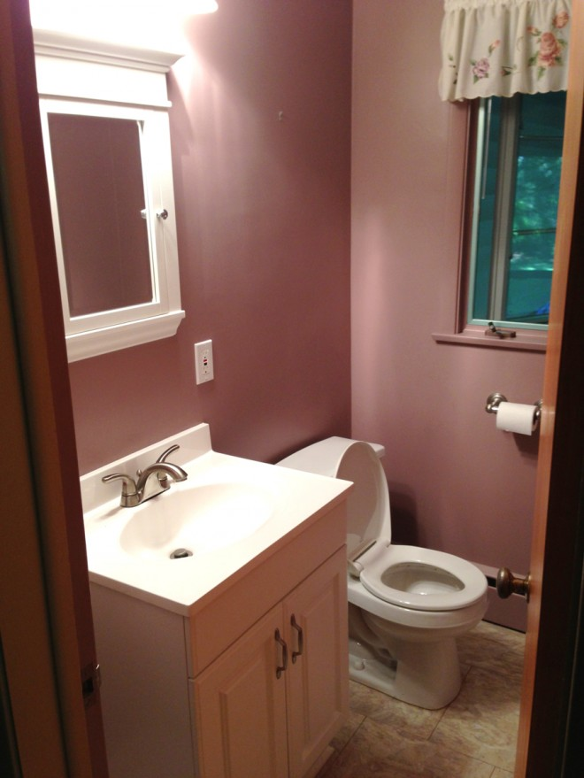Half bathroom rosey rose.