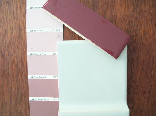 Vintage tile and paint samples found in our 1950's home.