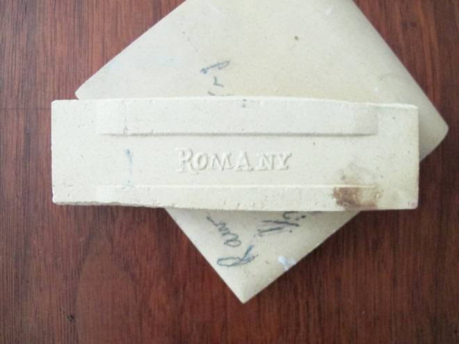 Romany tile samples, found in our 1950's ranch. What decade were these maroon and ivory tiles really from?