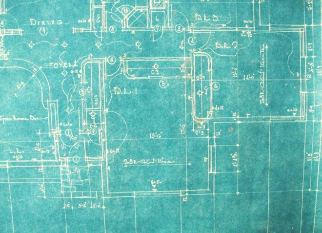 Blueprint of the rounded corners and closets in our original floorplan.