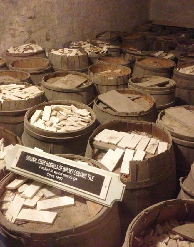 Boldt Castle Tiles, packed in original sawdust. Circa 1900.